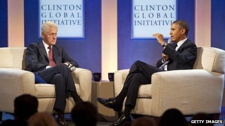 Bill Clinton and Barack Obama at the Clinton Global Initiative
