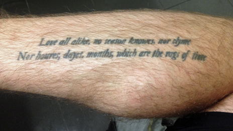 Tattoo quoting John Donne's The Sun Rising