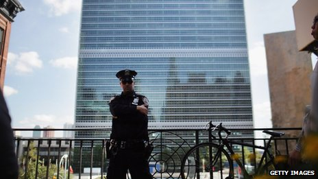 Policeman outside the United Nations