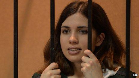 Nadezhda Tolokonnikova at a court hearing in Mordovia, 26 Apr 13