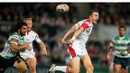 Tommy Bowe just fails to hold onto a pass as a try-scoring opportunity goes begging during the Pro12 game in Belfast