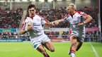 Michael Allen runs in Ulster's second try, with team-mate Luke Marshall on his shoulder