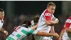 Treviso flanker Enrico Ceccato tackles Ulster prop Tom Court at Ravenhill