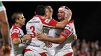 Paul Marshall, Ricky Lutton and Chris Henry congratulate Ulster try-scorer Rory Best