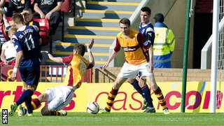 Melvin De Leeuw scores for Ross County against Motherwell
