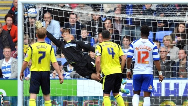 Danny Guthrie's free-kick evade Birmingham goalkeeper Darren Rudolph for Reading's second goal