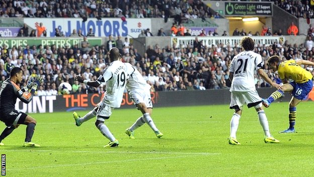 Aaron Ramsey scores for Arsenal at Swansea