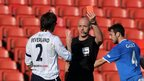 Coleraine skipper Howard Beverland is sent-off for a second bookable offence