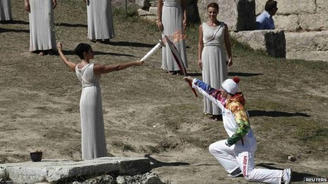Greek skier Ioannis Antoniou carried the first Olympic torch.