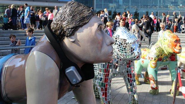 Gorilla statues outside Forum in Norwich