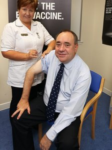 Alex Salmond getting the flu vaccine