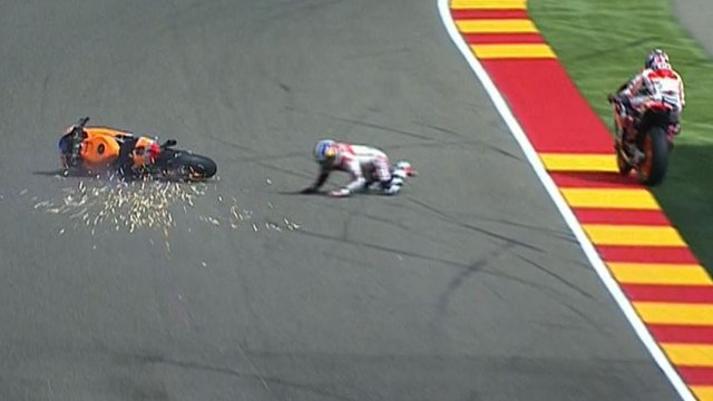 Pedrosa crashes out of Aragon GP