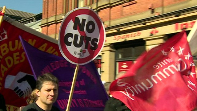 Union members and protesters marching in Manchester