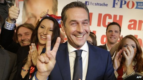 Freedom Party (FPOe) leader Heinz-Christian Strache after exit polls (29 Sept 2013)