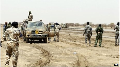 Malian soldiers near Kidal (file image)