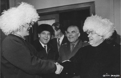 Finnish president Urho Kekkonen with Soviet leader Nikita Khrushchev in 1963
