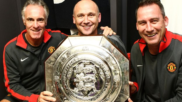 Eric Steele (left), Mike Phelan and Rene Meulensteen