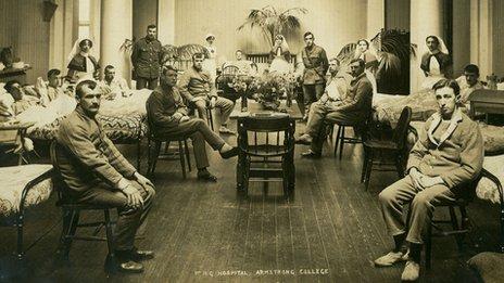 WWI hospital ward (pic courtesy of the Robinson Library, Newcastle University