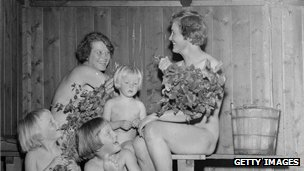 Family in a sauna, 1955