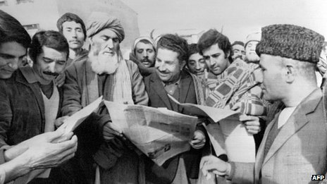 This undated picture shows Kabul citizens reading local papers in the early days after the Moscow-backed Afghan communist party took power in a military coup in 1978.