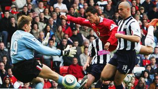 Tomasz Kuszczak saves from Cristiano Ronaldo at Old Trafford, May 2005