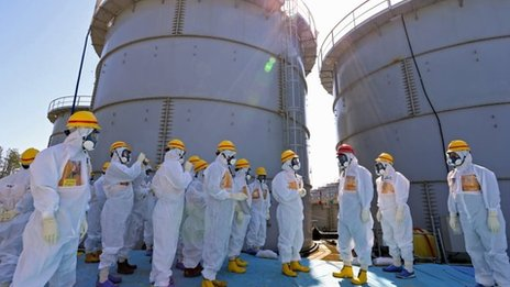 Japanese Prime Minister Shinzo Abe at Fukushima power plant