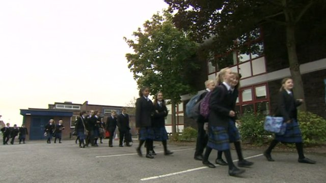 Pupils arriving at St Mary's Catholic Technology College
