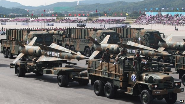South Korea's cruise missiles parade during the 65th anniversary of the Armed Forces Day ceremony at Seoul military airport in Seongnam, South Korea, 1 October 2013