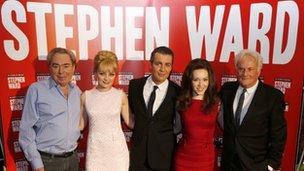 From left, Andrew Lloyd Webber, actress Charlotte Blackledge, actor Alexander Hanson, Charlotte Spencer, and director Richard Eyre