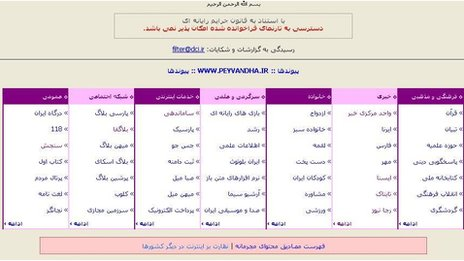 Screengrab of Iran web page