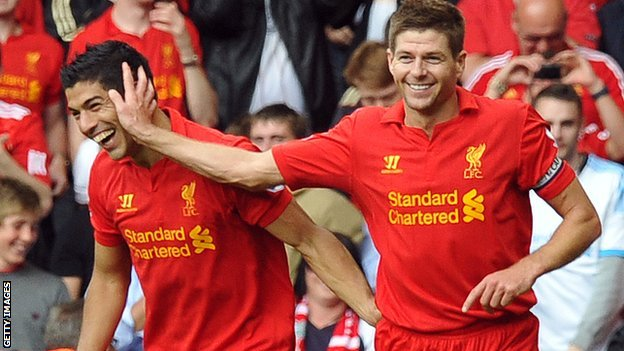 Liverpool captain Steven Gerrard (left) and striker Luis Suarez