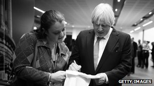 Boris Johnson and conference goer