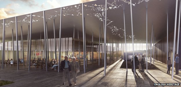 Artist impression of the new Stonehenge cafe and visitor centre. Image (c) English Heritage