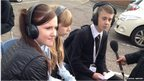 Joshua, Sophie and Courtney live get interviewed for BBC 5-Live outside their school