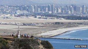 Ocean and the San Diego skyline