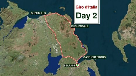 Day two will see cyclists on a tour of the north Antrim coast before returning to Belfast after cycling 218 km