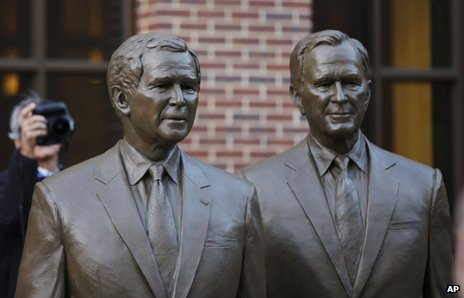 Statue of George W Bush and George HW Bush