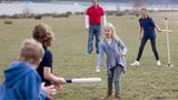 Family playing rounders