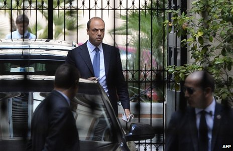 "Angelino Alfano leaves Silvio Berlusconi""s private residence in Rome, 1 October"