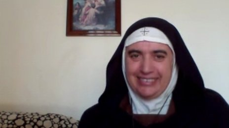 Mother Superior Agnes Mariam de la Croix during her video conference call with the BBC's Richard Galpin