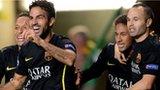 Cesc Fabregas celebrates his goal for Barcelona