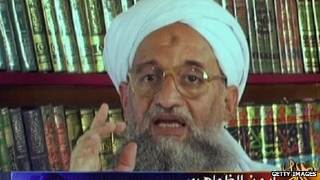 Al-Qaeda leader Ayman al-Zawahiri shown on television (file image)