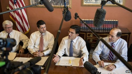(l-r) Rep Hal Rogers, Rep Paul Ryan, Rep Eric Cantor and Rep Dave Camp speak to the press with other House Republican conferees on Capitol Hill