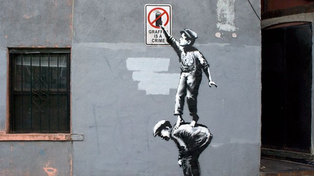 Spray art by Banksy which appeared in New York on 1 October 2013