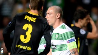 Celtic captain Scott Brown is sent off against Barcelona