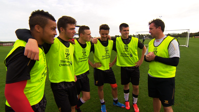 Robbie Fowler with Liverpool youth players