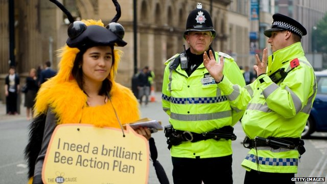A protester dressed as a bee at the Conservative Party Conference in Manchester