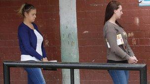 Michaella McCollum (left) and Melissa Reid on 1 October 2013