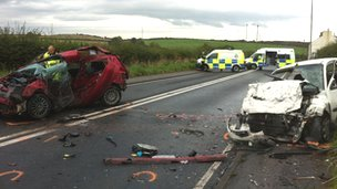 Scene of crash on A596 at Crosby Villa, Maryport