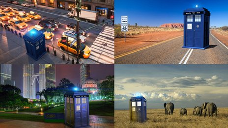 Tardis pictured in different parts of the world
